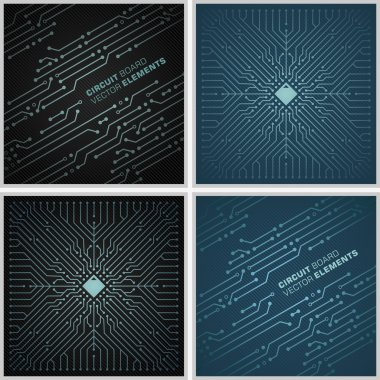 Circuit board textures / Microchip vector pattern tiles decorations black and blue