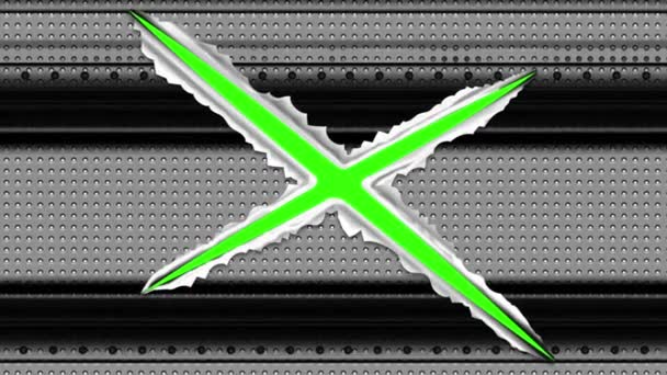 Řez je zaškrtávací značka, která se objeví na kovovém pozadí.