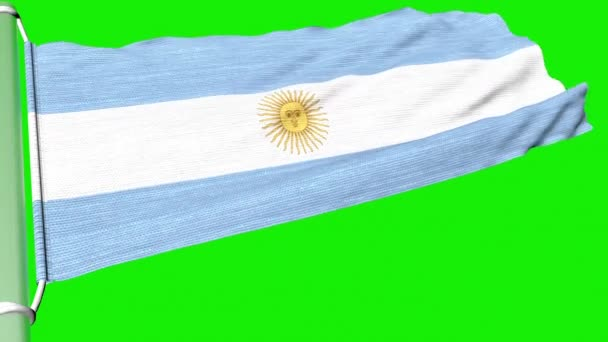 The flag of Argentina flies in a steady stream of wind.