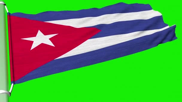 The Cuba flag flies in a steady stream of wind.