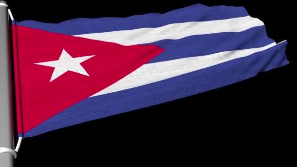 Vlajka Kuby vlaje v nepřetržitém proudu větru.