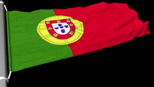 A portugál zászló villogó egy szempillantás alatt a folyamatos szél.
