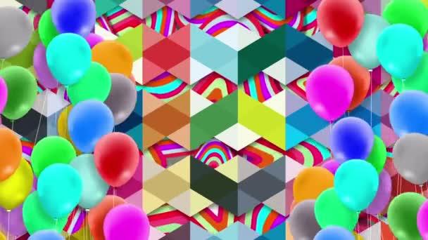 Mnoho balónků, barevných, kymácejících se silou větru