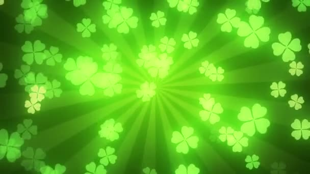 Falling clover leaves on green radial background. Saint Patricks day (St Patricks) holiday background.
