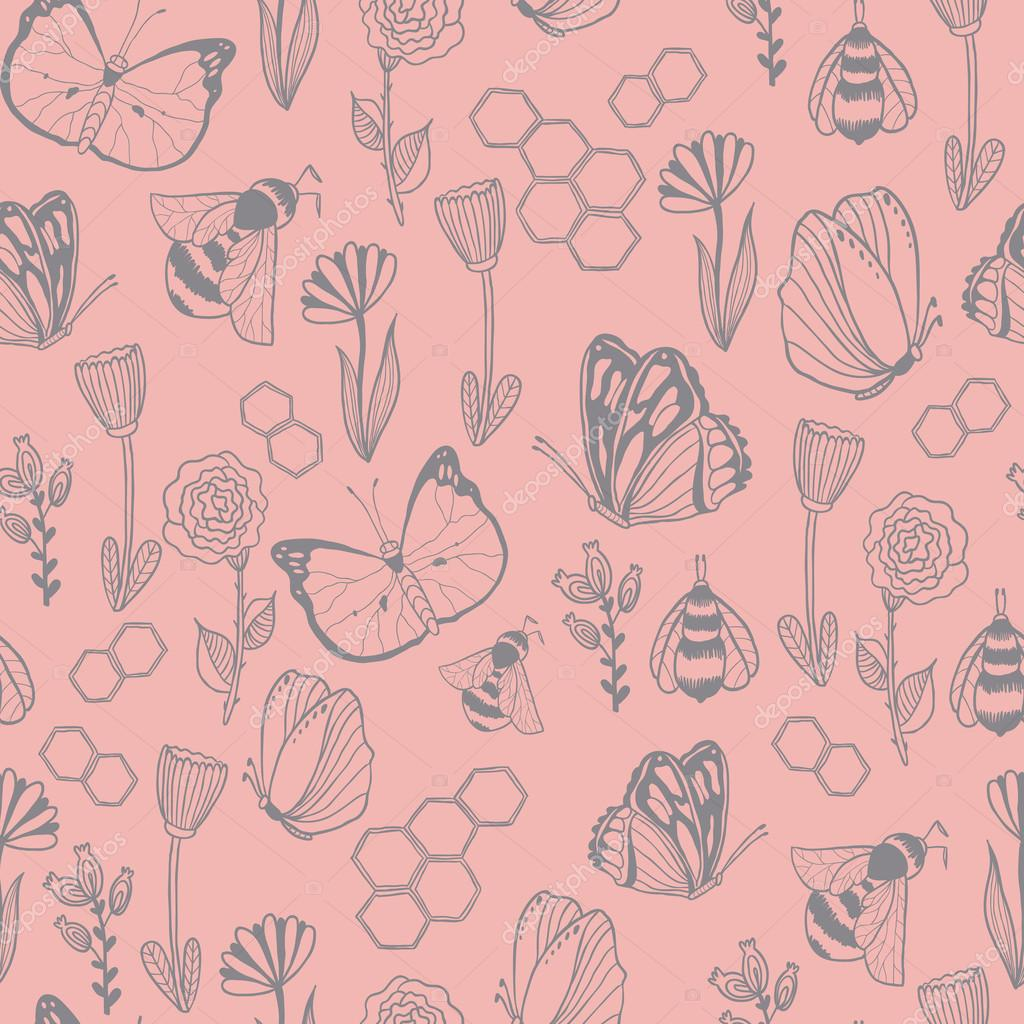 Honey Meadows seamless vector pattern.