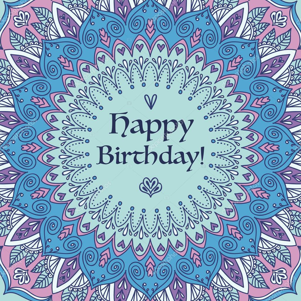 Mandala anniversaire carte ronde ornement pattern image - Mandala anniversaire ...