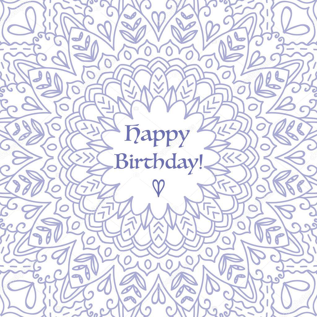 Mandala Verjaardag Card Ronde Ornament Patroon Stockvector