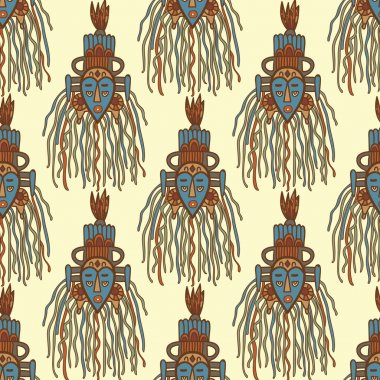 Hand drawn african masks. Seamless vector pattern.