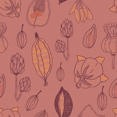 Seamless vector pattern with seeds and seed pods in autumn colors. Organic natural shapes.