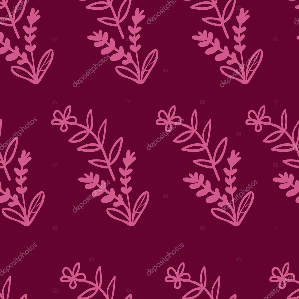 Spring flowers and leaves in fuchsia colors