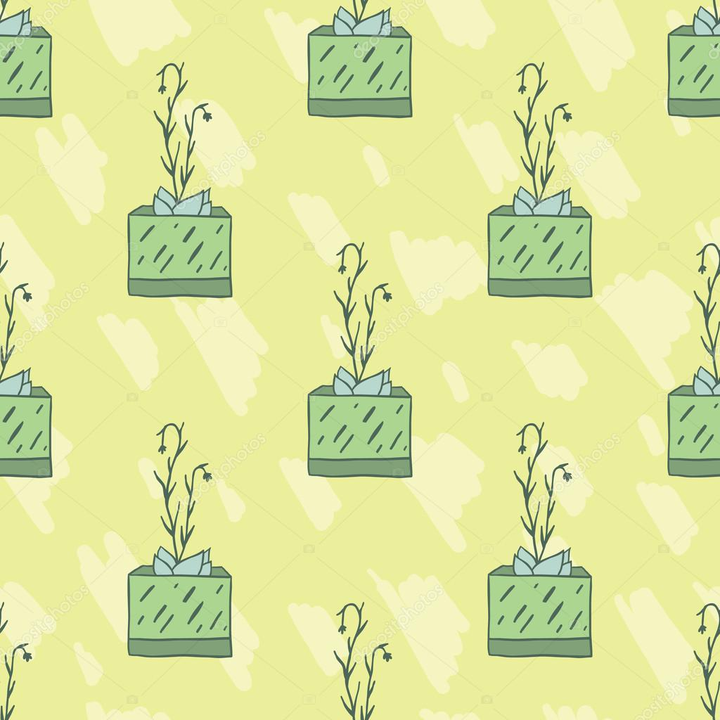 Cute hand drawnsucculents in pots. Seamless vector pattern.
