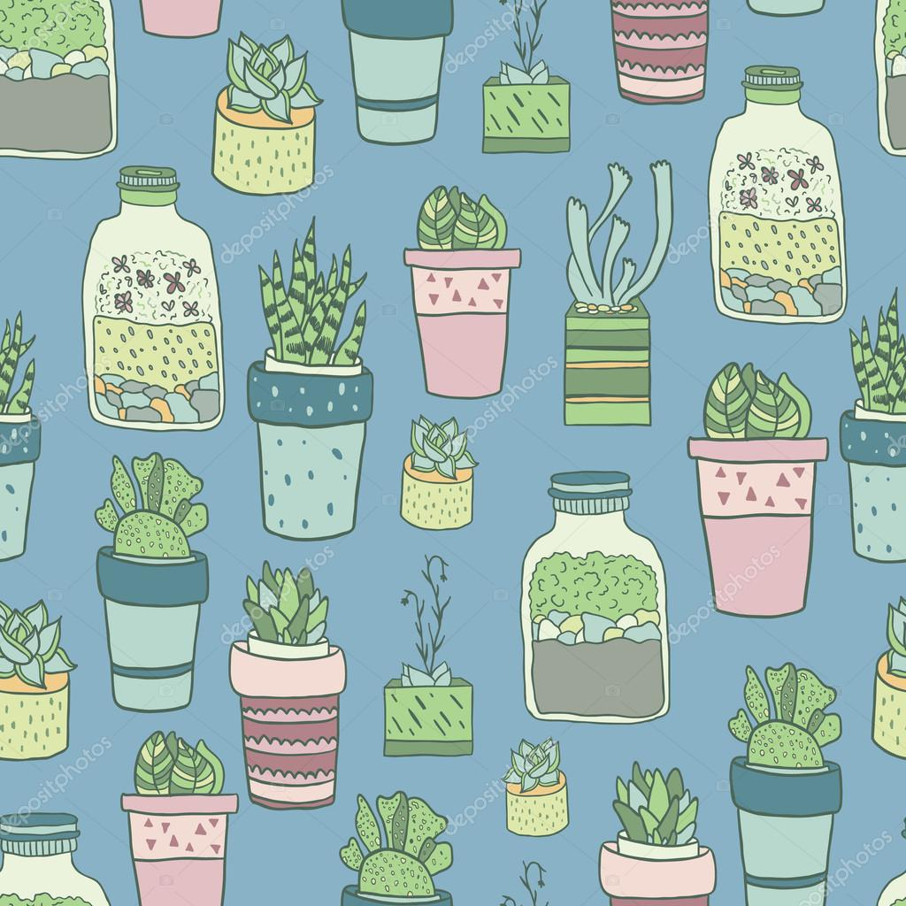 Cute hand drawn terrariums, houseplants and succulents in pots. Seamless vector pattern.
