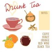 Vynikající podzimní recept opilý čaj s červeným vínem, med, hřebíček a oranžové