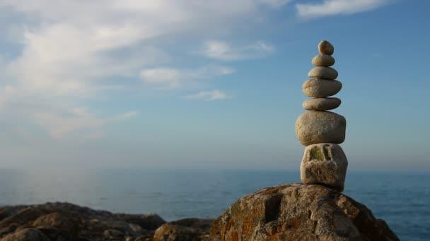 stone top stone at beach