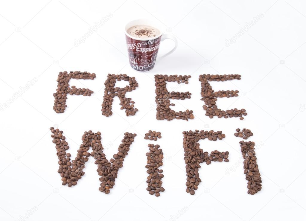 Libre Wi Fi Smbolo Y Caf Taza Foto De Stock Memedozaslan 90441568