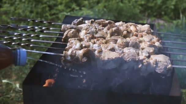 Sült Shish Kebab-a parázs a