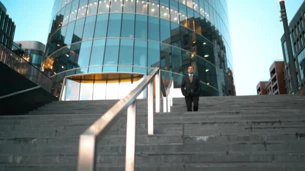 Businessman slide the rail