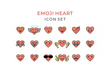 Emoji heart icon set outline color. Heart emoticon colorful with love, tear, laugh, smile, cool, kiss, sleep, thumbs up, thumbs down, face mask. Vector illustration. icon