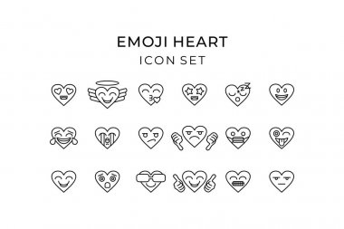 Emoji heart icon set outline. Heart emoticon colorful with love, tear, laugh, smile, cool, kiss, sleep, thumbs up, thumbs down, face mask. Vector illustration. icon