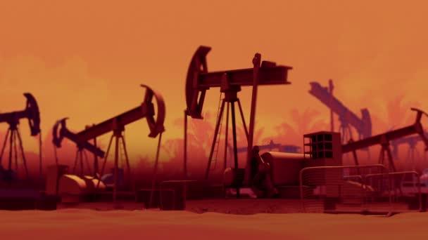 Oil industry pump jacks. Loop ready animation.