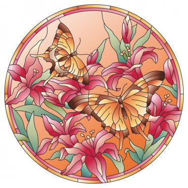 Stained glass window butterflies with flowers