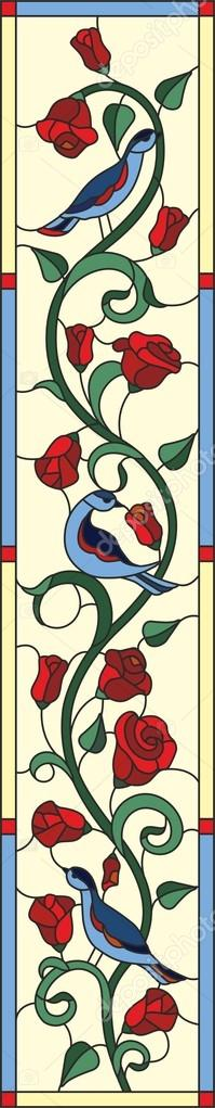 Folk birds with  rose stained glass window