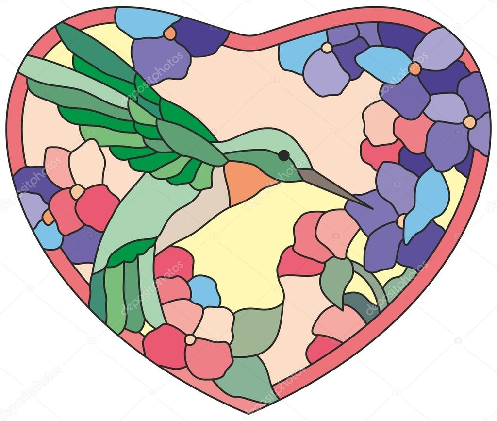 Stained glass window сolibri flowers heart