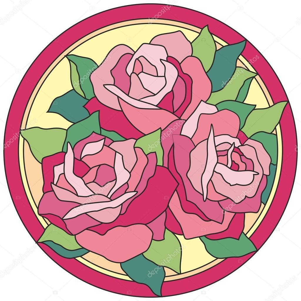 Stained glass window flowers rose