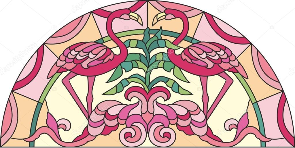 Stained glass window pink flamingo