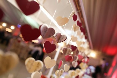 hanging hearts on a string  decoration