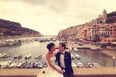 Fényképek Menyasszony és a vőlegény, a híd a háttérben a hajók