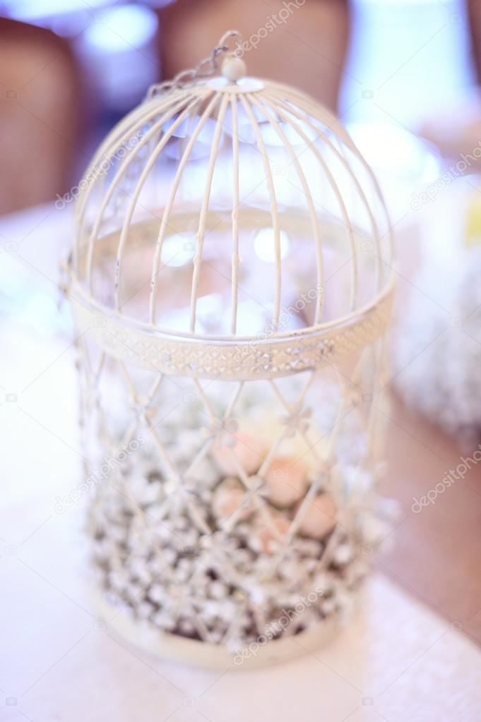fågelbur dekoration vit