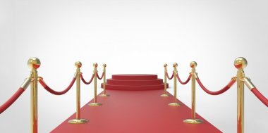 Red podium on red carpet VIP way gold fence on white gray background stock vector