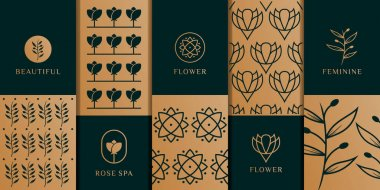 Beauty feminine packaging logo design vector with pattern. Suit to be used for icon, brand, identity, spa, yoga, decoration, and business company icon