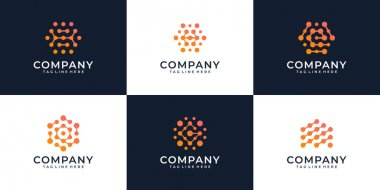 Set of modern internet connection abstract logo design concept. Logo can be used for icon, brand, identity, computer, technology, and business company icon