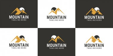 Set of mountain and moon logo vector design collection. Logo can be used for icon, brand, identity, hill, peak, and business company icon