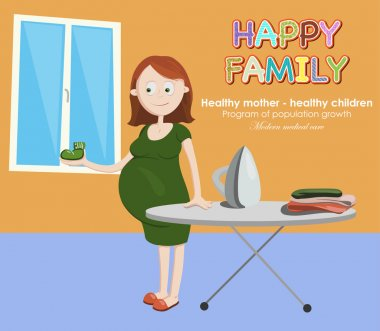 Pregnant woman ironing