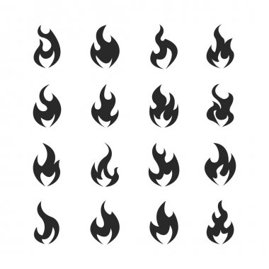 Fire Flame Icon Set.