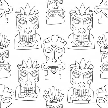 Drawing tiki statues . totems seamless texture