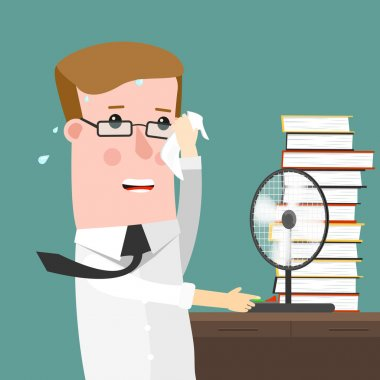 Illustration Featuring a Man Sweating Profusely in His Office clip art vector