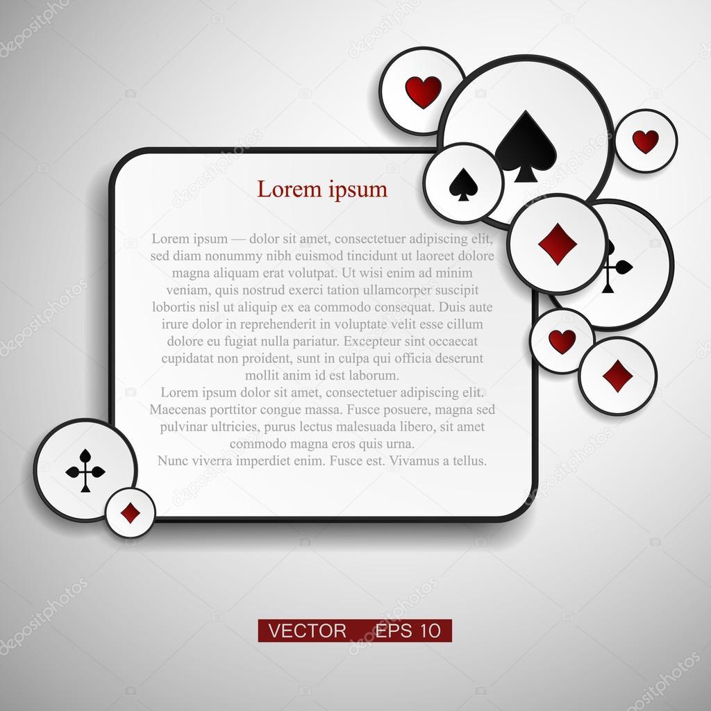 Vektor-Version. Poker-Rahmen mit Karten als Symbol für Glück ...
