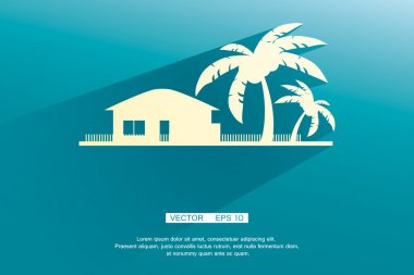 Styled bungalows and palm trees white with flat shadows on a blue background. vector background