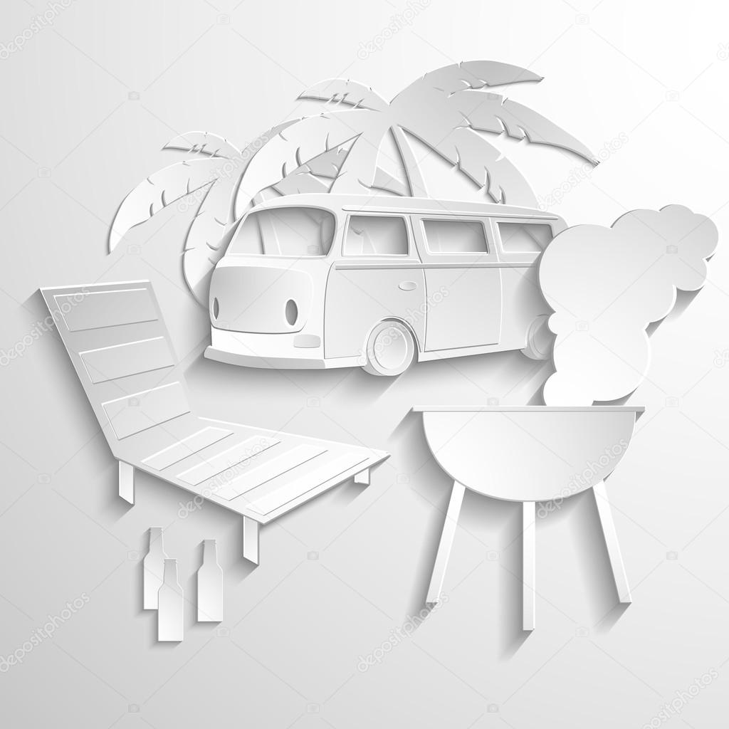 Hippie van travel beach adventure vacation flat 3d web isometric infographic concept vector. Minibus microbus bus vehicle suitcases surfboard palms sand and sea inside. Creative tourism collection.