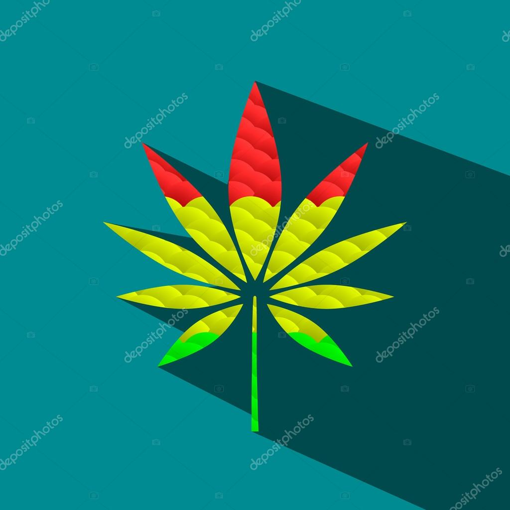 Vector Silhouette of a Hemp Leaf.