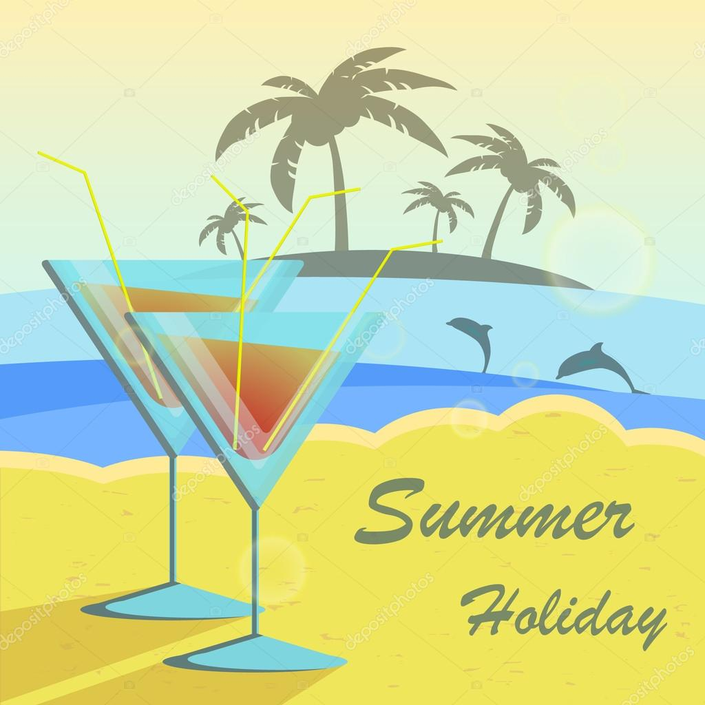 Summer holidays vector illustration set with cocktails, palms, sun, sky and sea.