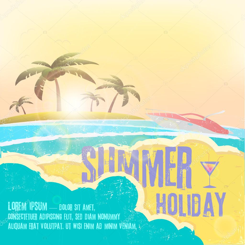 Summer holiday  - summer vacation vector design with hand drawn quote against a seascape