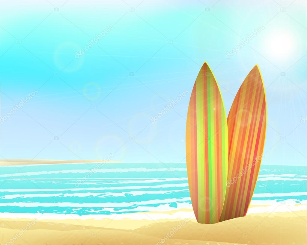 Vector holidays vintage design - surfboards on a beach against  sunny seascape