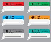 Fényképek Hello my name is sticker set color
