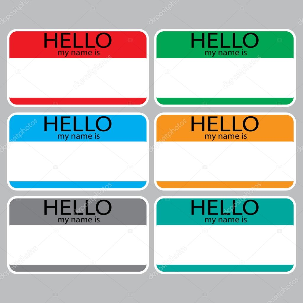 Hello My Name Is Sticker Sign Badge Set Color Stock Vector