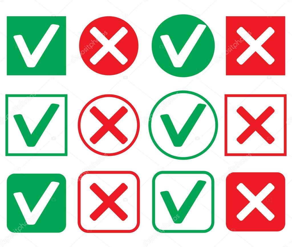 Satz von Symbol Zustimmung und Ablehnung — Stockvektor © 09910190 ...